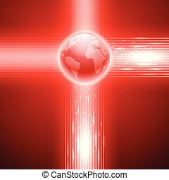 Red background with binary code to the globe.