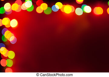 red background with bokeh lights