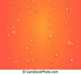 Red background with bubbles. Tomato or grapefruit juice