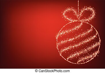 Red background with Christmas ball.