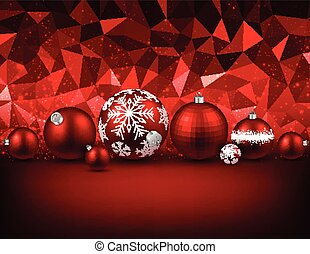 Red background with Christmas balls.