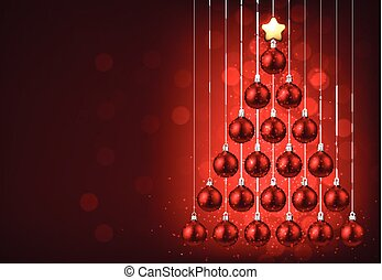 Red background with Christmas tree.