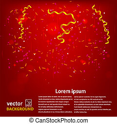 Red background with confetti and serpentine . Sample for your festive design. Vector illustration