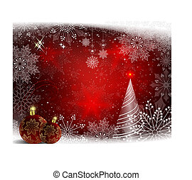 Red background with crimson balls with golden snowflakes and snow-white fir.