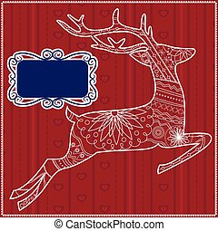 Red background with deer