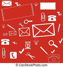 Red background with different things