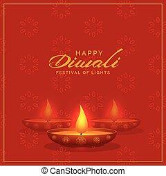 red background with diwali diya design