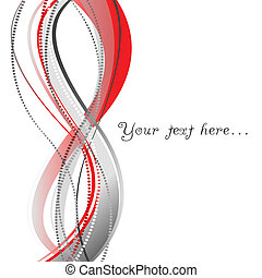 Red background with dotted lines and wave stripes