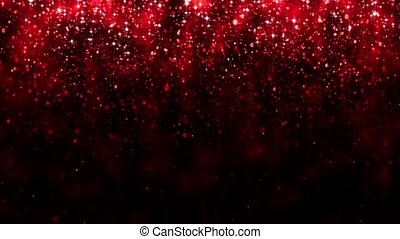 Red background with falling glitter particles. Beautiful festive sparkling background. Falling shiny particle bokeh with magic light. Valentines day. Seamless loop