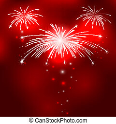 Red background with fireworks