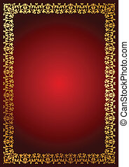 red background with floral border - Vector red background...