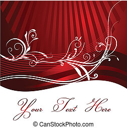 Red Background with floral design