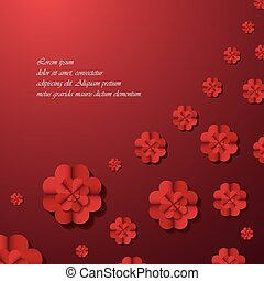 Red background with flowers.