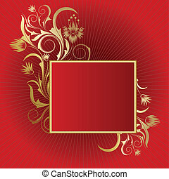 Red  background with   frame
