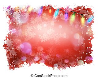 Red background with frame of snowflakes. EPS 10 vector file...