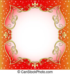 red  background with gold (en) an ornament and stars