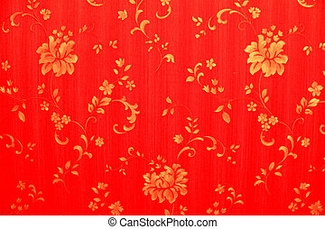 Red background with gold flowers