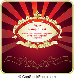 red background with gold frame