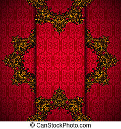 Red background with gold royal frame vector