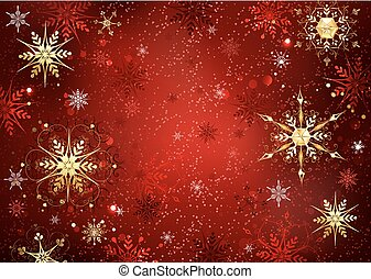 red background with gold snowflakes