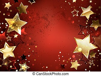 Red background with gold stars