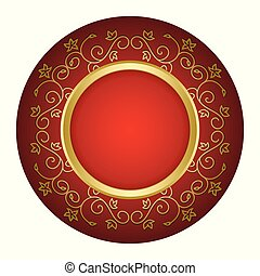 red background with gold vintage frame - vector
