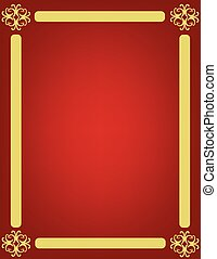 Red background with golden ornament frame