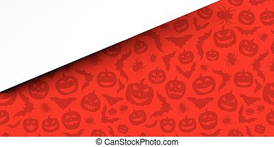 Red background with halloween pattern.