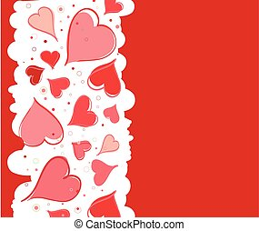 Red background with hearts for Valentine s Day. Vector illustration
