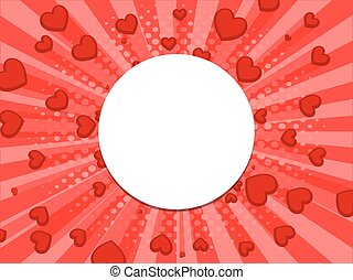 Red background with hearts pop art style vector