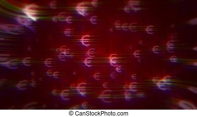 Red background with iridescent euro signs