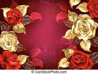 Red background with jewelry roses