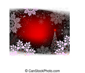 Red background with light purple snowflakes and a shining Christmas tree.