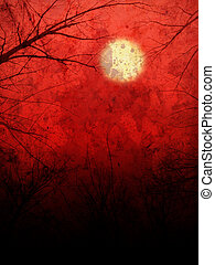Red Background with Moon and Trees - Night landscape with...