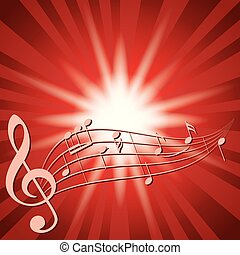 red background with music notes and flash - vector