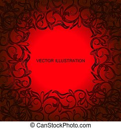 Red background with ornamental border in black colors. Vector illustration.