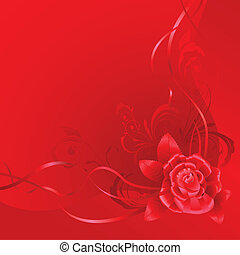 Red background with ribbons and rose