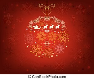 red background with santa claus on deer