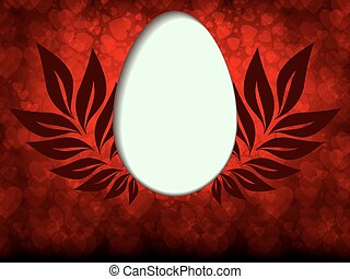 red background with silhouette Easter egg