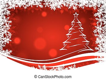 red background with snowflakes end christmas tree