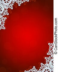 Red Background with Snowflakes in Border. Space for Text