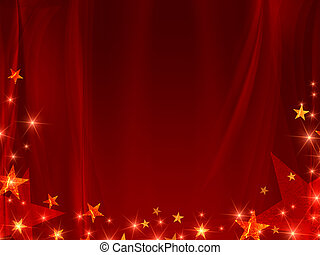 red background with stars and curve line