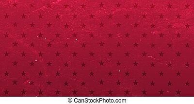 Red background with stars. Vector grange illustration.