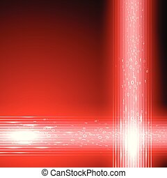 Red background with stream of binary code - Abstract red...
