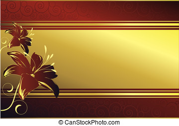 Red background with swirls and flower