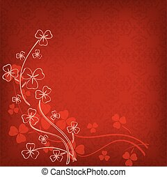 red background with vintage pattern and clovers for st patrick's day - vector