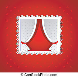 Red background with white curtain