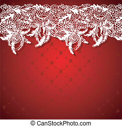 Red background with white lace