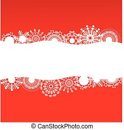 Red background with white snowflake