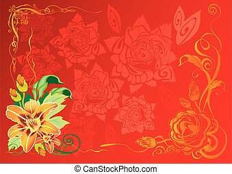 red background with yellow flowers in the corner, vector illustration,